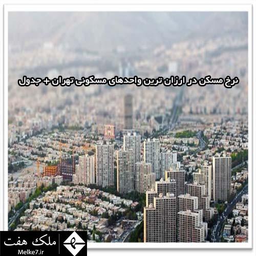 نرخ مسکن در ارزان ترین واحدهای مسکونی تهران + جدول