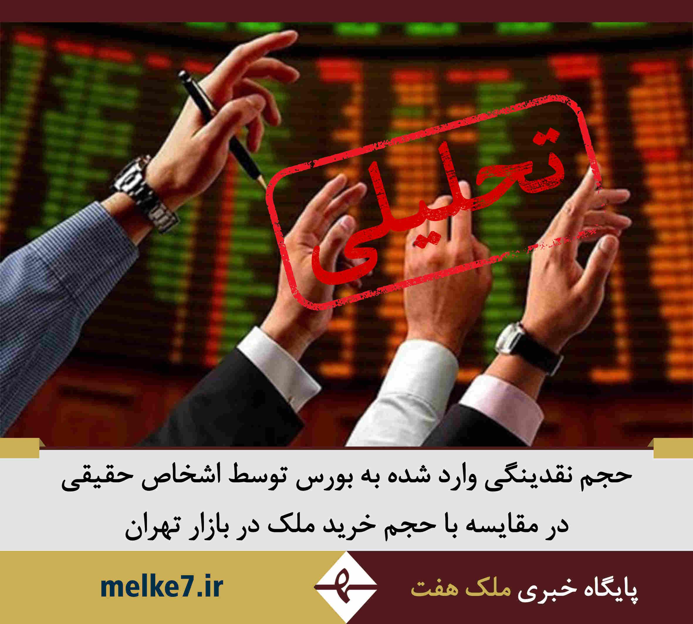 حجم نقدینگی وارد شده به بورس توسط اشخاص حقیقی در مقایسه با حجم خرید ملک در تهران