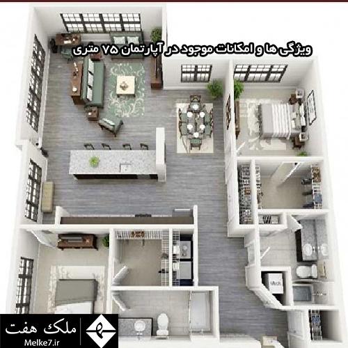 ویژگی ها و امکانات موجود در آپارتمان 75 متری