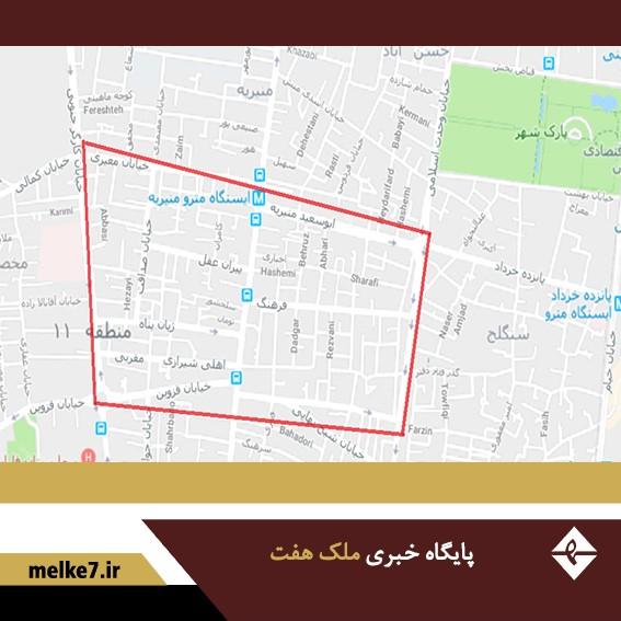 نقشه امیریه تهران